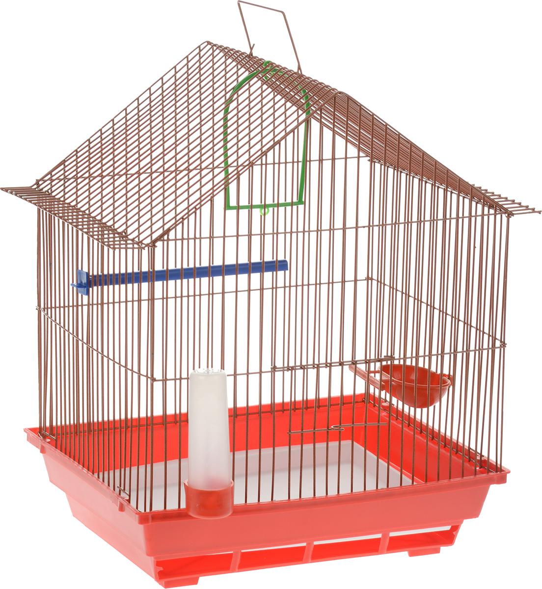 Клетка для птиц ЗооМарк, цвет: красный поддон, оранжевая решетка, 39 х 28 х 42 см410_красный/оранжевыйКлетка ЗооМарк, выполненная из полипропилена и металла с эмалированным покрытием, предназначена для мелких птиц. Изделие состоит из большого поддона и решетки. Клетка снабжена металлической дверцей. В основании клетки находится малый поддон. Клетка удобна в использовании и легко чистится. Она оснащена кольцом для птицы, поилкой, кормушкой и подвижной ручкой для удобной переноски. Комплектация: - клетка с поддоном; - малый поддон; - поилка; - кормушка; - кольцо.