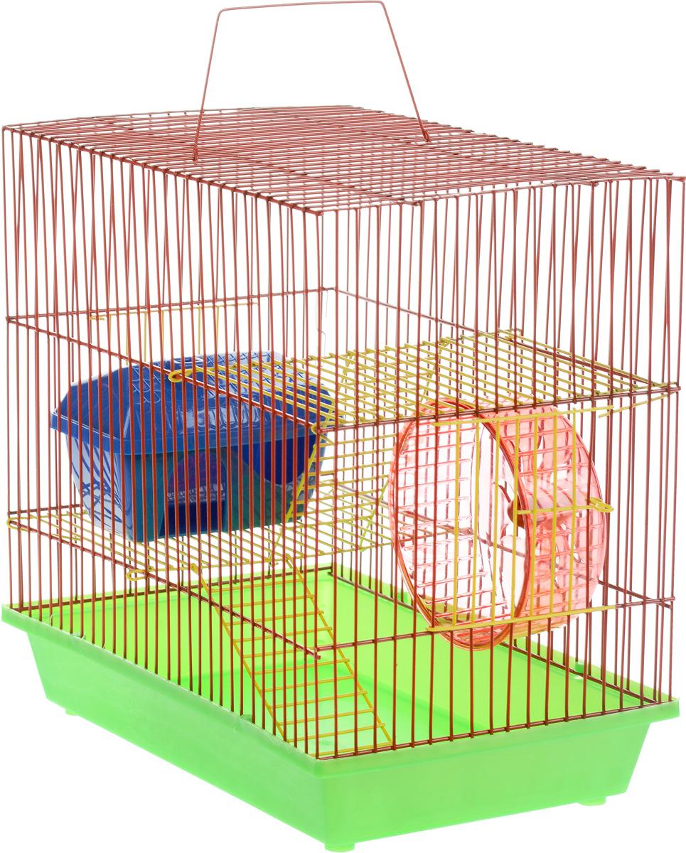 Клетка для грызунов ЗооМарк, 3-этажная, цвет: салатовый поддон, красная решетка, желтые этажи, 36 х 23 х 34,5 см 135ж135ж_салатовый/красныйКлетка ЗооМарк, выполненная из полипропилена и металла, подходит для мелких грызунов. Изделие трехэтажное, оборудовано колесом для подвижных игр и пластиковым домиком. Клетка имеет яркий поддон, удобна в использовании и легко чистится. Сверху имеется ручка для переноски. Такая клетка станет уединенным личным пространством и уютным домиком для маленького грызуна. Размер клетки: 36 см х 23 см х 34,5 см.
