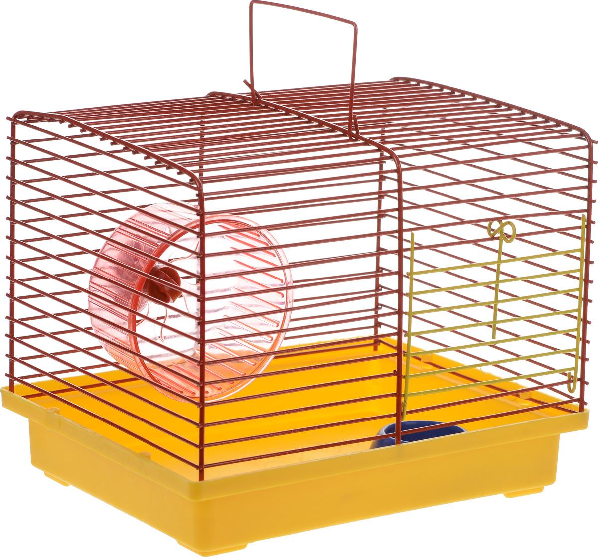 Клетка для хомяка ЗооМарк, с колесом и миской, цвет: желтый поддон, красная решетка, 23 х 18 х 18,5 см511_желтый/красныйКлетка ЗооМарк, выполненная из пластика и металла, подходит для джунгарского хомячка или других небольших грызунов. Она оборудована колесом для подвижных игр и миской. Клетка имеет яркий поддон, удобна в использовании и легко чистится. Такая клетка станет личным пространством и уютным домиком для маленького грызуна. Комплектация: - клетка с поддоном; - колесо; - миска. Размер клетки: 23 см х 18 см х 18,5 см.