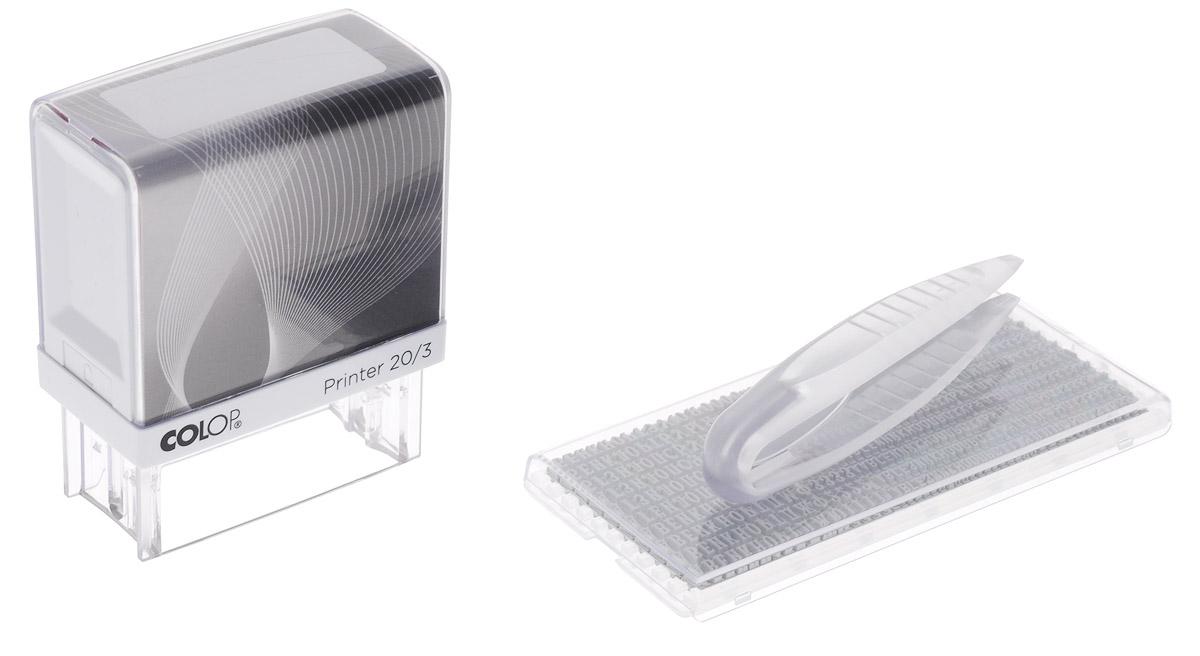 Colop Штамп самонаборный трехстрочный с персонализацией PrinterPrinter20/3S-SETСамонаборный штамп Colop используется для самостоятельного создания и оперативного изменения текста оттиска. Компактный и надежный пластиковый корпус с автоматическим окрашиванием. На корпусе расположено большое информационное окно для корпоративной или личной персонализации. Прозрачное основание штампа позволяет точно размещать оттиски на документах. Штемпельная подушка легко заменяется. Оптимальный набор букв, цифр и символов с креплением на одной ножке, экспресс-набор текста. Размер оттиска - 38 х 14 мм, 3 строки. Максимальное количество знаков в строке - 25. Язык - русский. В комплекте: оснастка, сменная штемпельная подушка, касса А, пинцет.