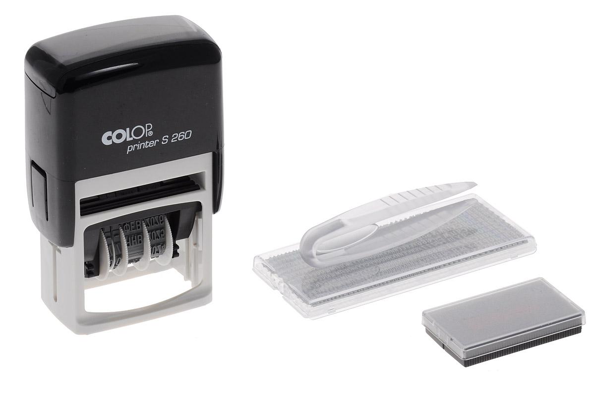 Colop Датер самонаборный двухстрочный Printer S 260-SetPrinter S 260-SetДатер самонаборный двухстрочный Colop Printer S 260-Set имеет надежный пластиковый корпус с автоматическим окрашиванием текста. Подходит для работы в бухгалтерии, на складе, в банке. Рифленая пластина для набора текста расположена вокруг даты. Рассчитан на 12 лет, включая текущий год. Месяц указывается прописью.