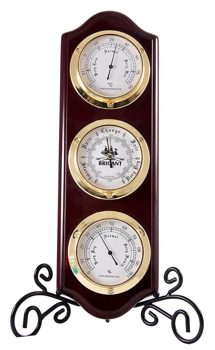 Метеостанция Brigant: барометр, термометр, гигрометр, цвет: красное дерево, 15х46 см. 2811628116