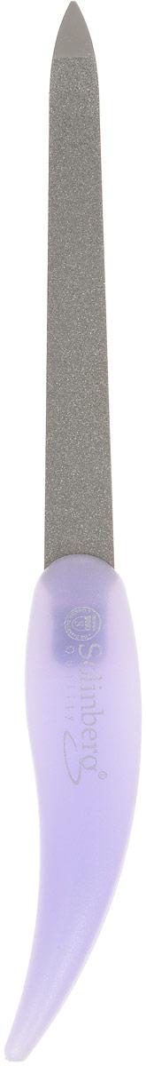 Пилка металлическая Solinberg 448, цветная пластиковая ручка, алмазное покрытие, цвет: сиреневый, длина 15 см
