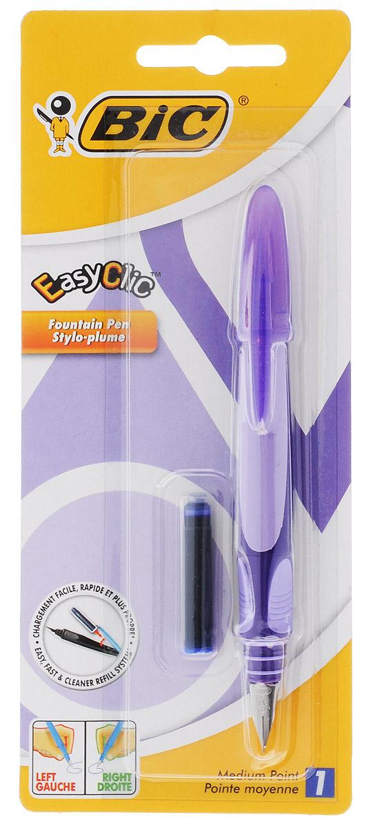 Bic Ручка перьевая Easy Click Classic цвет корпуса фиолетовыйB8479004_фиолетовыйПерьевая ручка Easy Click Classic в эргономичном пластиковом корпусе станет отличным подарком, как школьнику, так и взрослому человеку. Перо из стали обеспечивает равномерную подачу чернил. Стальной иридиевый пишущий узел позволяет чертить линии толщиной 0,5 мм. Ручка дополнена колпачком с удобным клипом. Ручка одинаково удобна для письма как левой, так и правой рукой. Ручка снабжена инновационной удобной системой замены картриджа. В комплекте с ручкой имеется картридж с синими чернилами.