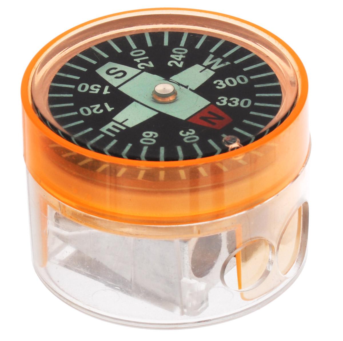 Brunnen Точилка двойная Компас цвет оранжевый29836\255718\BCD_оранжевыйТочилка двойная Компас выполнена из прочного пластика. В точилке имеются два отверстия для карандашей разного диаметра, подходит для различных видов карандашей. При повороте пластикового контейнера, отверстия закрываются. Полупрозрачный контейнер для сбора стружки позволяет визуально контролировать уровень заполнения и вовремя производить очистку. В дно контейнера встроен небольшой компас.