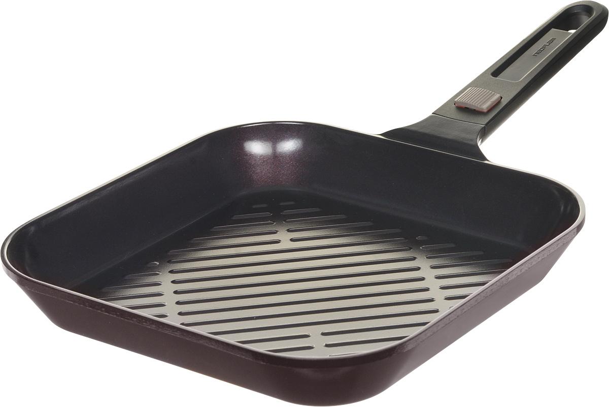 Сковорода-гриль Frybest MyPan, с керамическим покрытием, со съемной ручкой, 28 х 28 смEK-MP-G28Корпус сковороды-гриль Frybest MyPan изготовлен из высококачественного литого алюминия с керамическим антипригарным покрытием. Она отлично подойдет для тушения, жарки, запекания и выпечки - механизм съемной ручки позволяет доводить блюда до готовности, переставляя с плиты в духовой шкаф. Основные характеристики: - съемная ручка с легкой и надежной системой крепления; - современное и экологичное керамическое покрытие Ecolon Superior - не пригорает, легко моется и устойчиво к царапинам и повреждениям; - оптимальная толщина дна и стенок для равномерного прогрева; - ребристая поверхность дна задержит излишки масла и жир, чтобы стейк был максимально полезным. Подходит для всех видов плит, кроме индукционных. Размер (по верхнему краю): 28 х 28 см. Высота: 4,5 см. Длина ручки: 18,5 см.