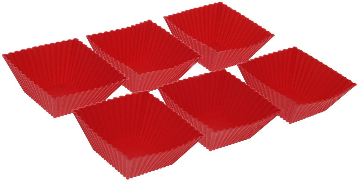 Набор форм для выпечки Mayer & Boch, цвет: красный, 7 х 7 см, 6 шт22069_красный