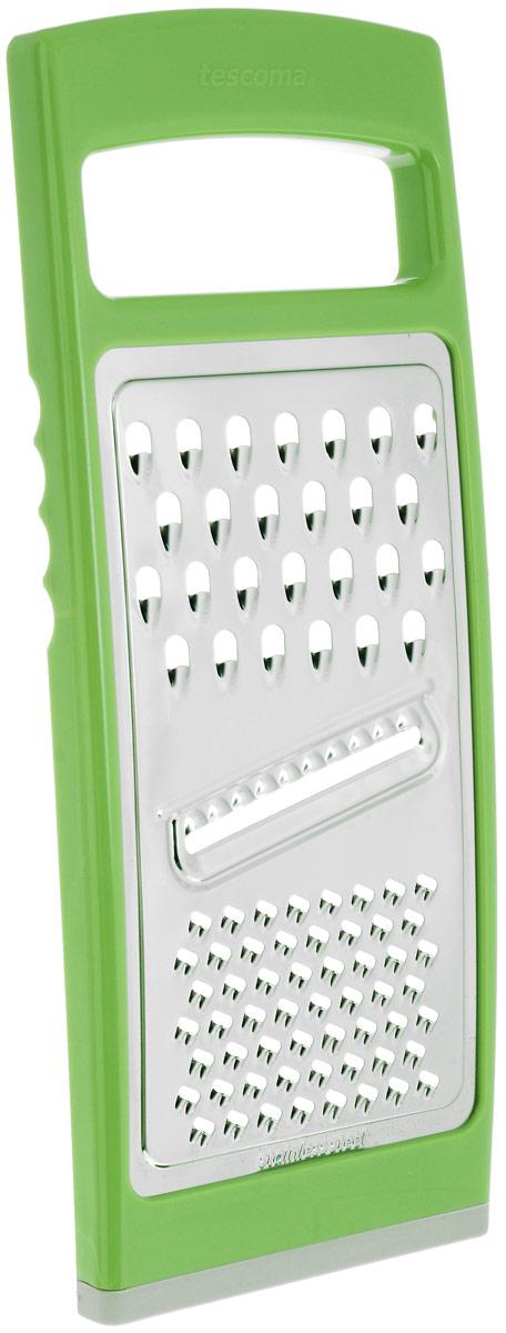 Терка плоская Tescoma Handy, цвет: зеленый643764_зеленыйТерка Tescoma Handy замечательна для простого и быстрого измельчения и нарезки на ломтики всех обычных видов продуктов. Изготовлена из первоклассной нержавеющей стали и прочной пластмассы, противоскользящая обработка для безопасного использования. Можно мыть в посудомоечной машине. Размер терки: 27,5 см х 11,5 см х 1,5 см.