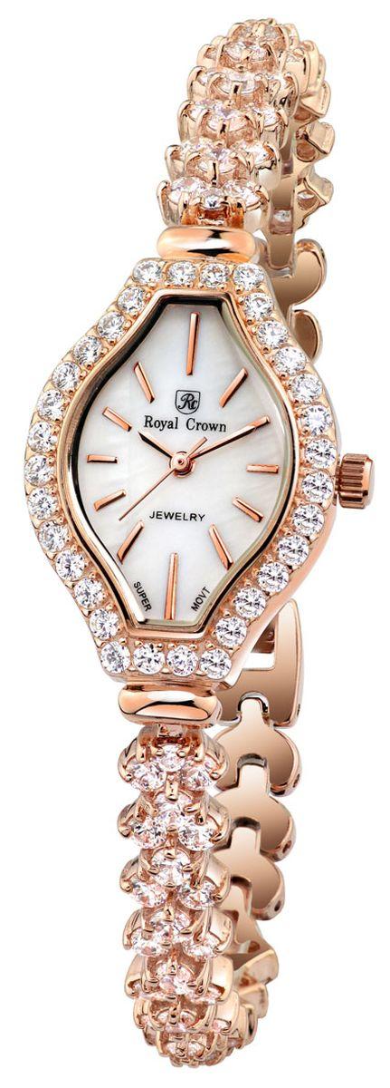 Часы наручные женские Royal Crown, цвет: золотой. 63815-RSG-563815-RSG-5Наручные кварцевые часы Royal Crown выполнены из высококачественного металла и оформлены вставками из страз. Браслет оснащен удобной металлической застежкой, которая надежно зафиксирует изделие на запястье. Часы оснащены минеральным, устойчивым к царапинам, стеклом с сапфировым напылением и задней крышкой из гипоаллергенной нержавеющей стали.