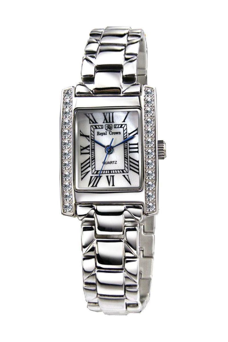Часы наручные женские Royal Crown, цвет: серебристый. 6306-RDM-66306-RDM-6Наручные кварцевые часы Royal Crown выполнены из высококачественного металла. Корпус оформлен вставками из страз. Браслет оснащен удобной металлической застежкой, которая надежно зафиксирует изделие на запястье. Часы оснащены минеральным, устойчивым к царапинам, стеклом с сапфировым напылением и задней крышкой из гипоаллергенной нержавеющей стали.