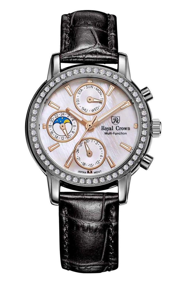 Часы наручные женские Royal Crown, цвет: серебристый. 6420-RDM-16420-RDM-1Royal Crown- воплощение безукоризненного стиля и надежности.Это изысканный итальянский дизайн,высококачественные механизмы.