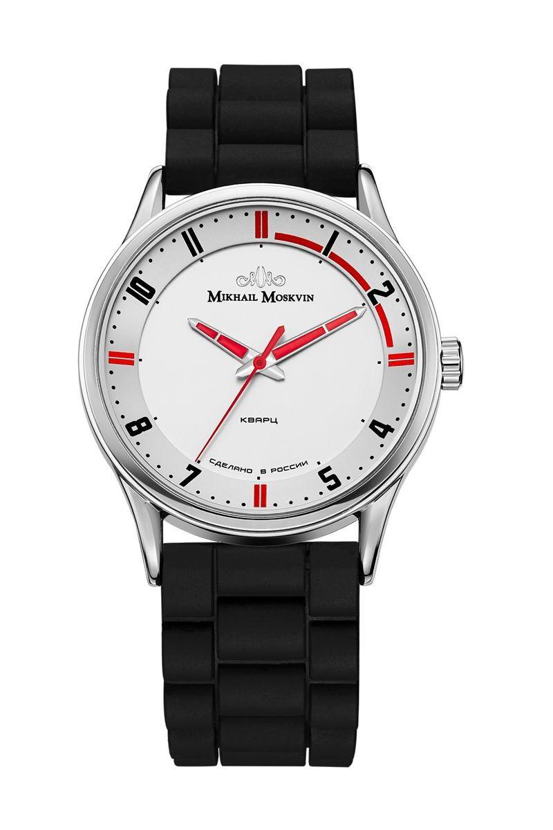 Часы наручные мужские Mikhail Moskvin, цвет: серебристый. 1129A1L11129A1L1Удивительное ощущение комфорта возникает, когда эти часы, как влитые, охватывают запястье. Эргономичность часов подчеркивается геометрической эстетикой дизайна циферблата и классической формой 41-миллиметрового корпуса. Легкий налет спортивного стиля придают часам композиция и палитра циферблата. Красные прямоугольные знаки и черные прямые арабские цифры чередуются по кругу на рельефном кольце белого циферблата. Контрастности и четкости считывания добавляет красное заполнение стальных стрелок оригинальной формы. Покрытие ионами стали высокого качества выполнено по современным технологиям и придает стойкость поверхности к коррозии. Модель комплектуются кварцевым механизмом, производства фирмы Seiko Epson (Япония), образцом точности и надежности. Срок службы элемента питания 2 года. Удобный силиконовый ремень комплектуется стальной пряжкой.