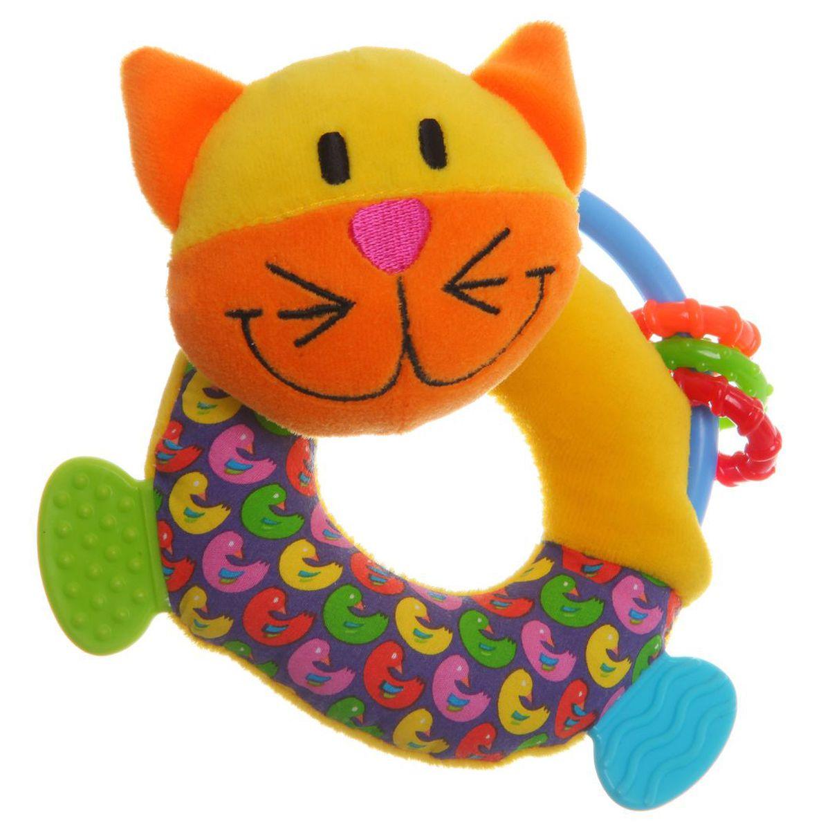 Bondibon Мягкая игрушка-погремушка Кот цвет желтый синийВВ1281Мягкие погремушки становятся самыми любимыми игрушками малышей в первые месяцы жизни. Именно погремушки передают крохам первый визуальный и тактильный опыт, а также учат находить взаимосвязь - если потрясти погремушку, то возникнет звук! Погремушка имеет форму кота, а вместо ножек у нее - прорезыватель для зубов, выполненный из качественного и безопасного материала.