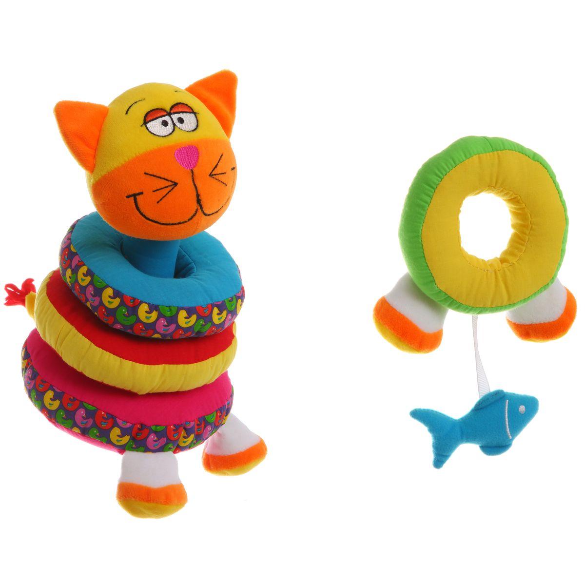 Bondibon Мягкая пирамидка КотВВ1292Мягкая пирамидка - это замечательная развивающая игрушка для малышей. Она выполнена в ярких цветах в форме кота, и отлично развивает мелкую моторику малыша, учит отличать цвета, дает первый тактильный опыт. Если потрясти пирамидку, то она будет греметь, а также ее можно разобрать на части. Такая игрушка станет отличным подарком для вашего малыша!