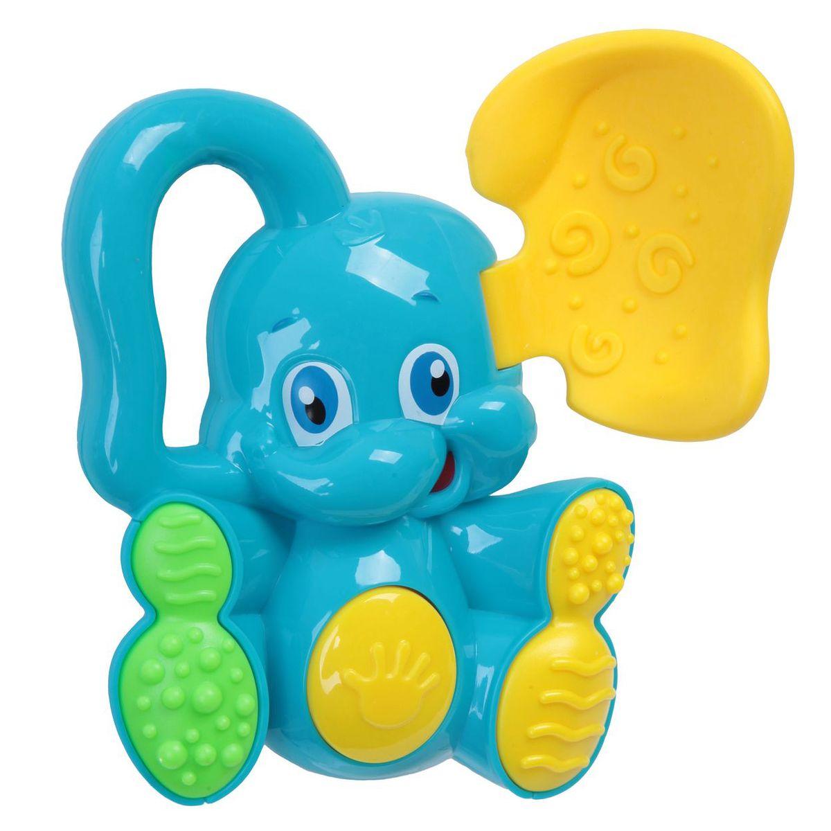 Bondibon Погремушка Слоненок с прорезывателем цвет голубой желтый