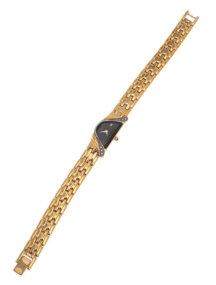 """Женские наручные часы """"Роскошь"""" от компании Seiko. Кварцевый механизм. Позолоченный браслет, стразы. Япония, 1970-е годы"""