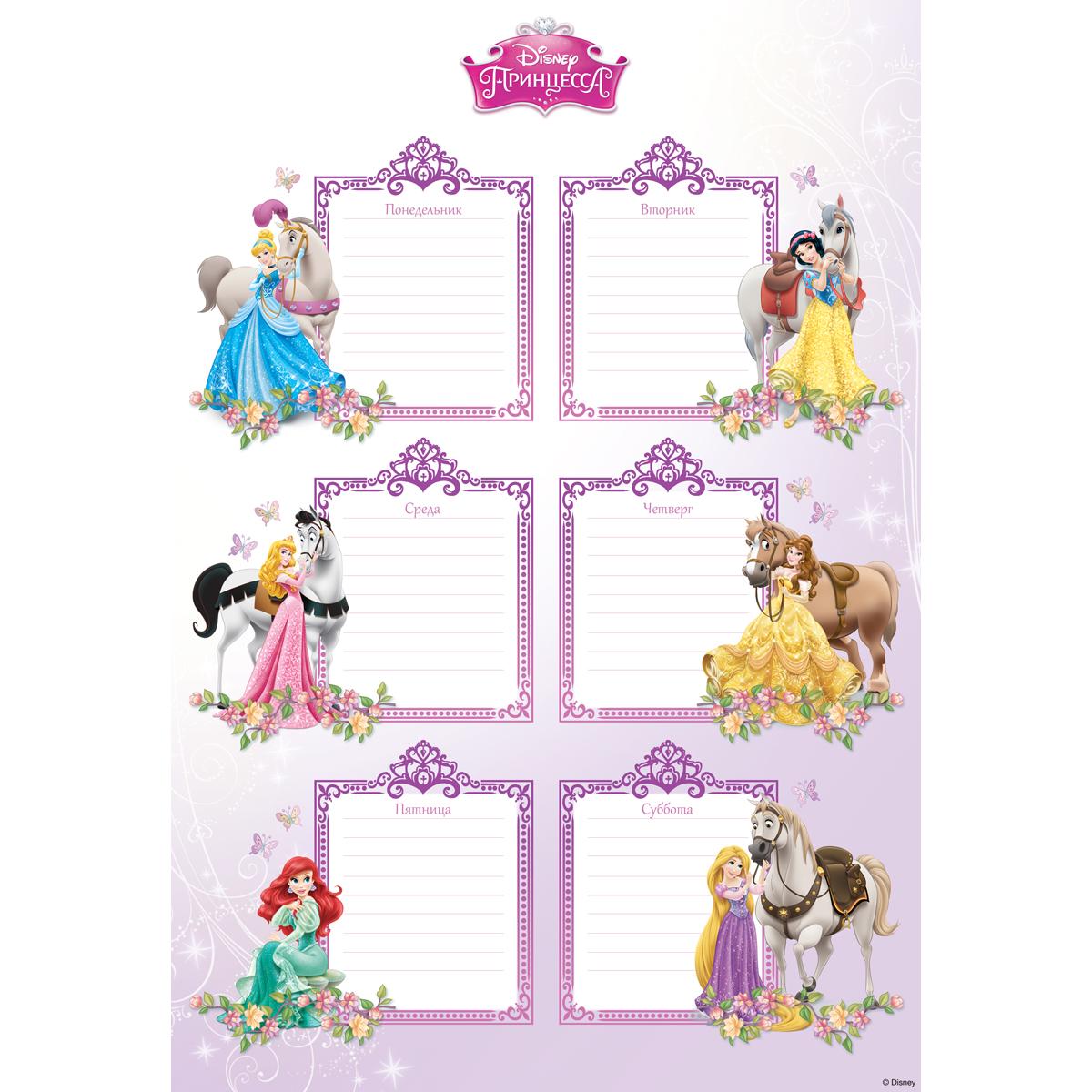 Decoretto Наклейка Школьное расписание Мир принцесс