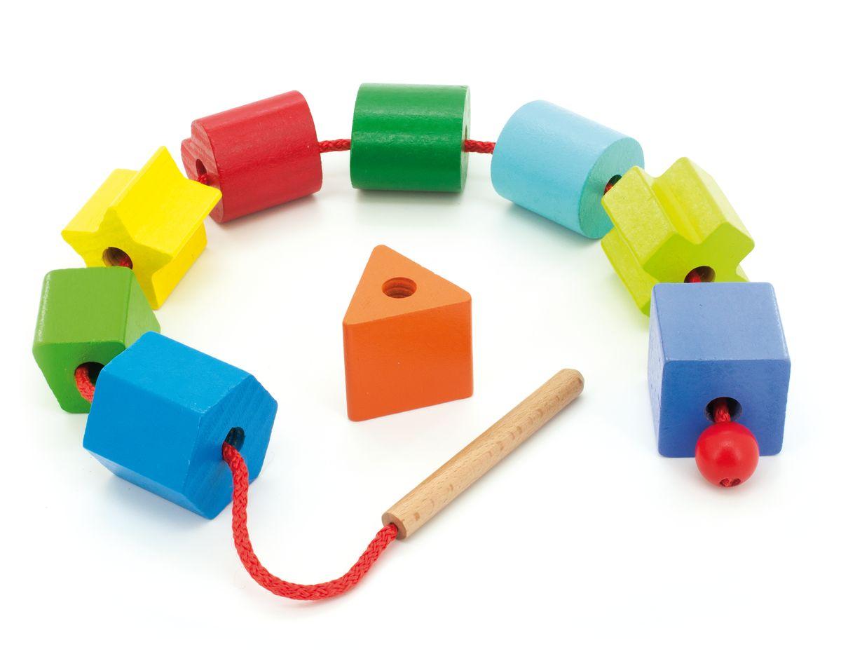 Мир деревянных игрушек Обучающая игра ГеометрияД 389Бусы геометрия это длинный шнурок, на который можно нанизывать 10 различных геометрических фигур разного цвета размером 4х4х4. Игрушка развивает у детей моторику, умение считать, различать фигуры и цвета. Игрушка очень удобна в эксплуатации, фигуры можно одевать на шнурок в любой последовательности, вращать и перемещать.