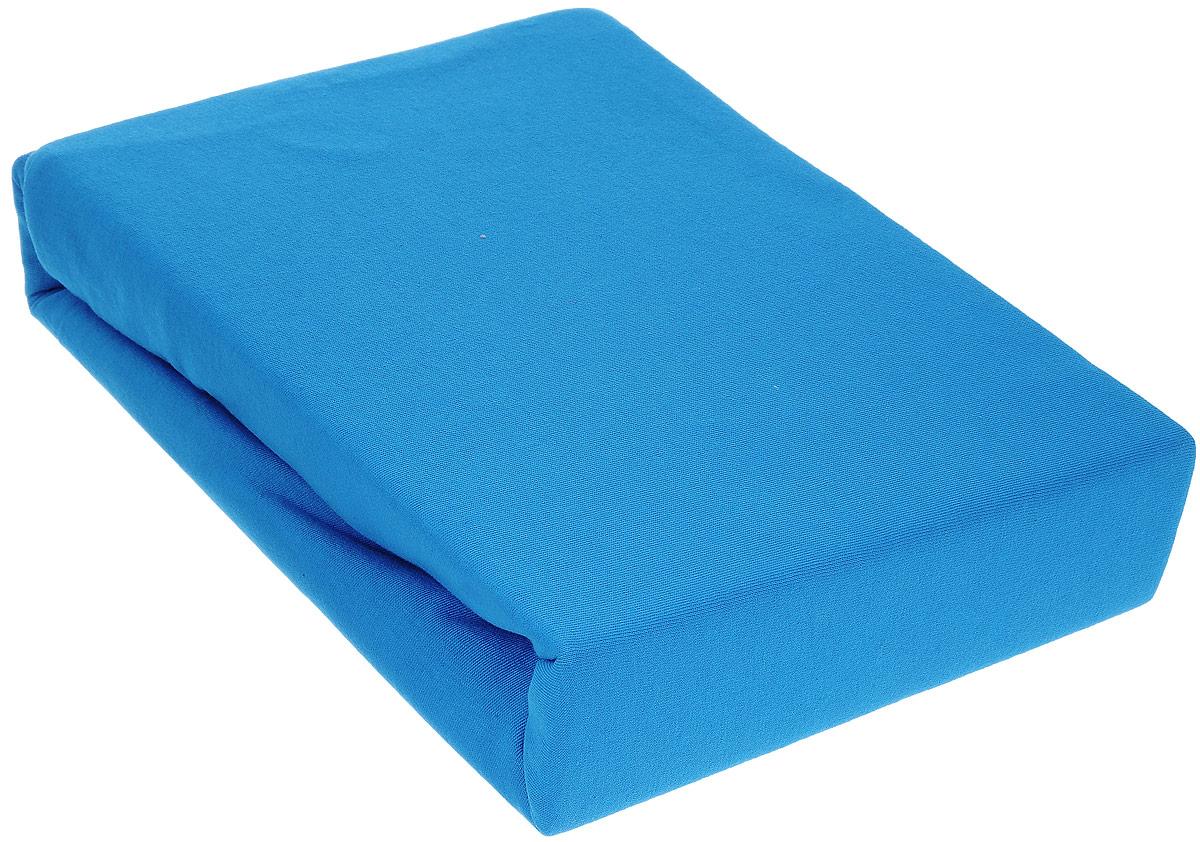 Простыня на резинке Хлопковый Край, цвет: голубой, 160 х 200 см160тр-ПнРПростыня на резинке Хлопковый Край изготовлена из натурального хлопка голубого цвета (100% хлопка) и абсолютно безопасна даже для самых маленьких членов семьи. Она обладает высокой плотностью, необычайной мягкостью и шелковистостью. Простыня из такого хлопка выдержит большое количество стирок и не потеряет цвет. Простыня прошита резинкой по всему периметру, что обеспечивает более комфортный отдых, так как она прочно удерживается на матрасе и избавляет от необходимости часто поправлять простыню. Выбрав простыню нужной вам расцветки, вы можете легко комбинировать ее с различным постельным бельем.