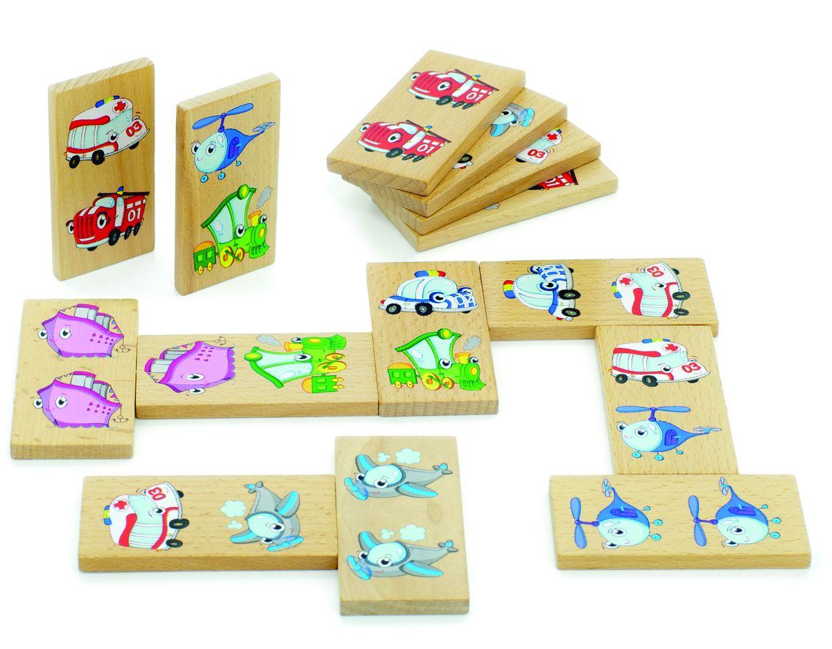 Мир деревянных игрушек Обучающая игра Домино ТранспортД393Домино транспорт представляет из себя деревянные пластинки с изображениями воздушного, земного и водного транспорта в детской и красочной стилизации. Разложив правильно пластинки можно получить пару или тройку подобных изображений. Домино находится в удобном матерчатом мешочке. Игрушка развивает у детей логические способности, умение считать и читать, различение цветов и форм.
