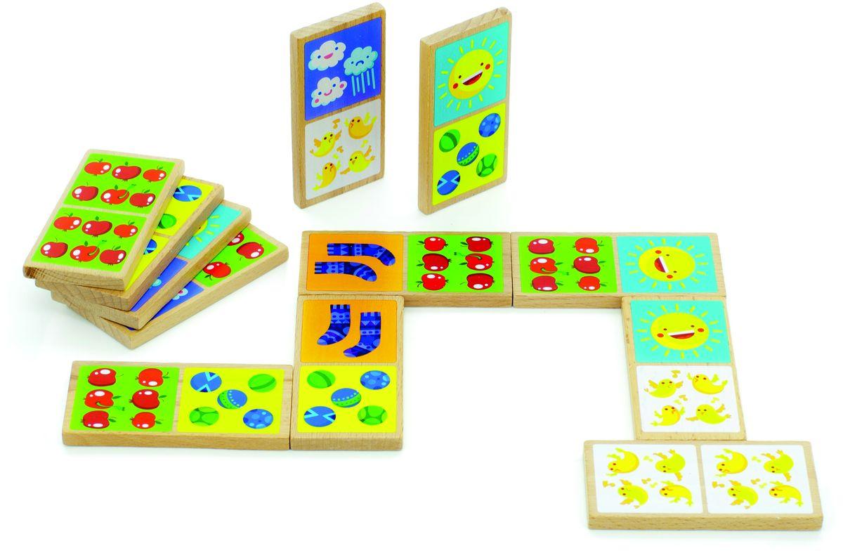 Мир деревянных игрушек Обучающая игра Домино СчетД395Домино Счёт представляет собой деревянные пластинки с различным набором картинок: солнца, мячей, яблок, носков и птенцов. Сами изображения представлены в разных количествах и размерах. Домино находится в матерчатом мешочке. Пластинки по размерам чуть больше детской ладошки. Эта игрушка развивает у детей логику, различение в цветах и формах, умение читать и считать.