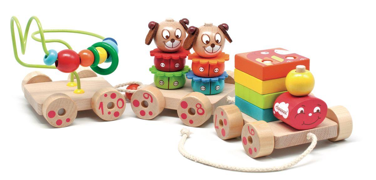 Мир деревянных игрушек Игрушка-каталка Паровозик ЧухLL141Паровозик Чух это деревянная игрушка с крутящимися колёсами и имеет вид паровоза с вагонами. Паровоз имеет на себе кубики квадратной формы разных цветов и связан с вагонами шнурками. Следом за паровозом идёт вагон с элементами в виде цветков, собачек и второй вагон с изогнутой, замыкающейся трубой на которой висят шарики разных цветов и размеров, а также кольцо. Эта игрушка увлекает детей тем, что сам паровозик и вагоны имеют подвижные колёса, благодаря которым игрушку можно катать по полу. Игрушка развивает у детей моторику, различение в цветах и формах.