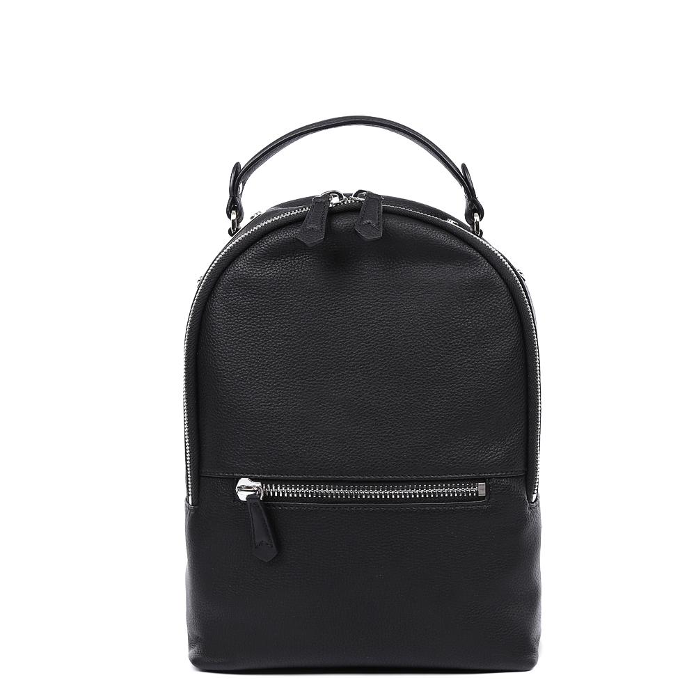 Рюкзак женский Leo Ventoni, цвет: черный. 2300442223004422-neroАккуратный рюкзак от итальянского бренда Leo Ventoni выполнен из натуральной кожи, которая имеет мягкую и нежную фактуру. Классический черный цвет, фурнитура в стальном цвете и изящные кожаные поводки, - все это превращает рюкзак в ультрамодный и современный аксессуар, который понравиться любительницам яркого и молодежного стиля. Внутри находятся два кармана, один из которых закрывается на молнию. Лицевую часть рюкзака дизайнеры украсили карманом с удобным кожаным поводком. Рюкзак не вмещает формат А4. Прочные и тонкие ручки регулируются.