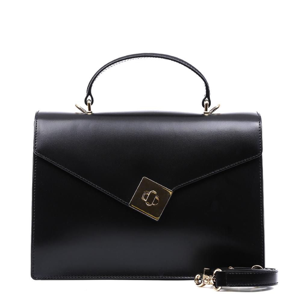 Сумка женская Leo Ventoni, цвет: черный. 2300444823004448-neroКлассическая и изысканная сумка от итальянского бренда Leo Ventoni выполнена из натуральной плотной кожи, которая держит форму и имеет невероятно мягкую фактуру. Насыщенный черный цвет, элегантная и простая форма и изысканная фурнитура в золотом цвете превращают модель в модный аксессуар, который придется по вкусу любительницам утонченного шика. Сумка имеет одно вместительное отделение, закрывающееся на замок. Внутри сумки вы с легкостью сможете расположить свой сотовый телефон и другие женские мелочи с помощью двух удобных карманов. Модель не вмещает формат A4, в комплекте имеется наплечный ремень, с помощью которого аксессуар можно носить на плече.
