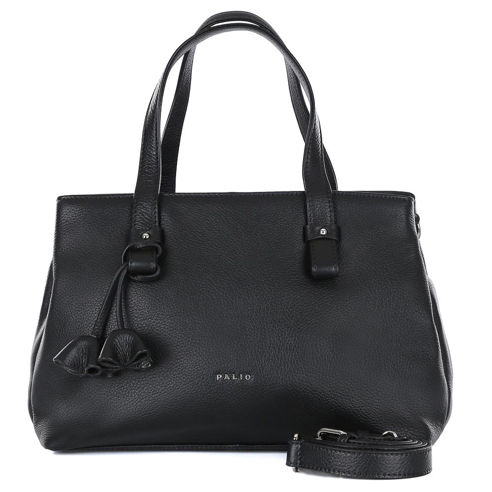 Сумка женская Palio, цвет: черный. 14463A1-01814463A1-018 blackИзящная сумка из натуральной кожи от итальянского бренда Palio. Классический черный цвет, стильные съемные брелки и элегантные кожаные поводки превращают модель в незаменимый аксессуар, который дополнит любой современный образ. Сумка имеет три вместительных отделения, два из которых закрываются на прочные молнии. С помощью маленьких внутренних карманов вы с легкостью разместите свой сотовый телефон и различные женские мелочи. Модель не вмещает формат A4. Фурнитура выполненная в серебре, элегантные ручки и плотная мягкая кожа делают сумку не просто стильным, но и удобным аксессуаром.