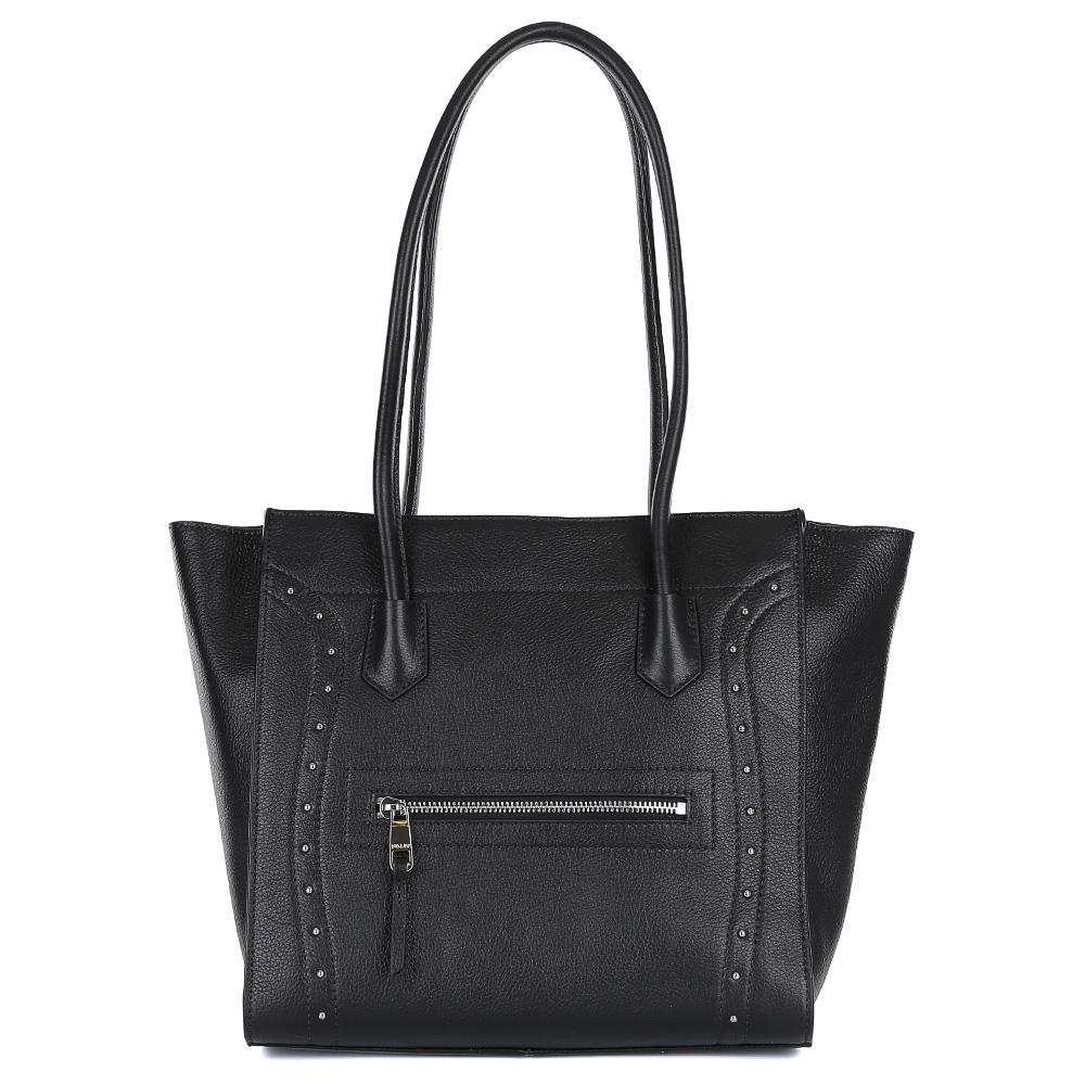 Сумка женская Palio, цвет: черный. 14469A2-01814469A2-018 blackСтильная сумка от итальянского бренда Palio выполнена из натуральной плотной кожи, которая держит форму и имеет мягкую фактуру. Классический черный цвет, фурнитура выполненная под серебро и изящные гвоздики-хольнитены, - такой дизайн дополнит любой современный образ. Сумка имеет одно вместительное отделение, которое разделено карманом на молнии. Внутри аксессуара вы с легкостью расположите свой сотовый телефон и другие женские мелочи за счет удобных карманов. На передней и тыльной стороне модели дизайнеры разместили вместительный карман, который закрывается на стильную молнию с кожаным поводком. Сумка с легкостью вмещает формат A4.