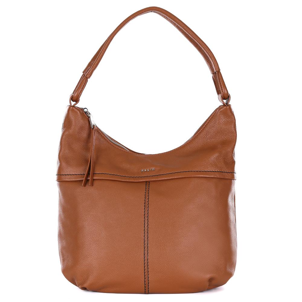 Сумка женская Palio, цвет: коричневый. 14547A1-55814547A1-558Cумка-мешок от итальянского бренда Palio выполнена из натуральной кожи, которая имеет мягкую и приятную фактуру. Если вы ценитель стильных аксессуаров, которые можно носить каждый день, эта модель создана специально для вас. Модный коричневый цвет, изящная тонкая строчка, интересное крепление ручек придаст любому образу нотки элегантности и женственности. Фурнитура выполненная в золотом цвете, длинные кожаные брелки завершают дизайн сумки, делая его ультрасовременным и очень удобным. Аксессуар имеет одно вместительное отделение, которое внутри разделено на два глубоких отсека. Внутри модели вы с легкостью расположите свой сотовый телефон и другие женские мелочи за счет удобных карманов. Изделие вмещает формат A4. На тыльной стороне дизайнеры разместили вместительный карман, который закрывается на стильную молнию с кожаным поводком.