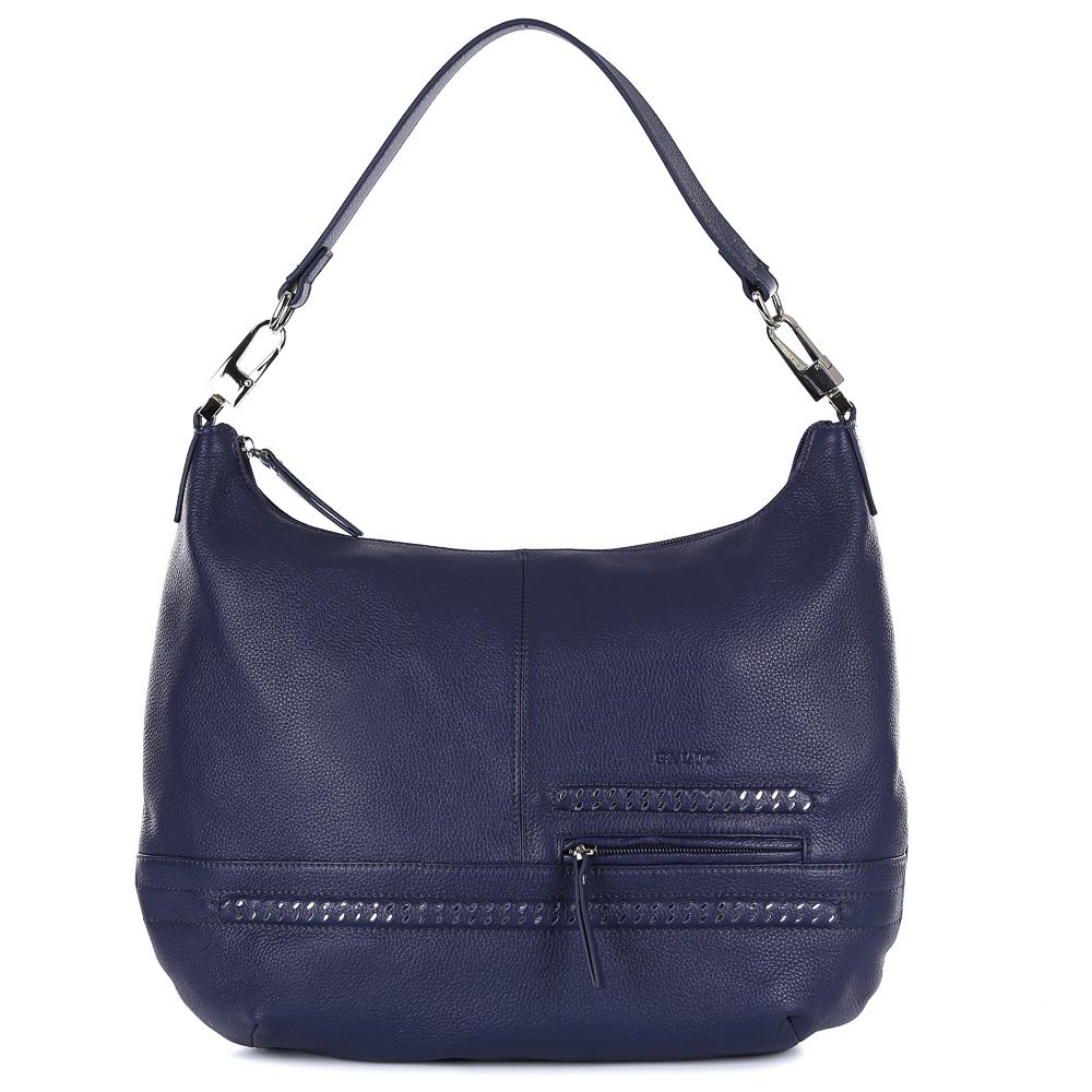 Сумка женская Palio, цвет: синий. 14570A1-89714570A1-897 blueИзящная сумка-мешок от итальянского бренда Palio выполнена из натуральной кожи, которая имеет мягкую и нежную фактуру. Уникальный дизайн модели, включающий в себя модный оттенок темно-синего цвета, эксклюзивный дизайн в виде серебряных полос, стильную фурнитуру, подойдет всем модницам, которые ищут аксессуар, подходящий к любому стилю и дополняющий любой образ. Сумка имеет одно вместительное отделение, которое разделено карманом на молнии. Внутри аксессуара вы с легкостью расположите свой сотовый телефон и другие женские мелочи за счет удобных карманов. На передней и тыльной стороне дизайнеры разместили вместительные карманы, которые закрываются на удобные молнии с кожаными поводками. Сумка с легкостью вмещает формат A4.