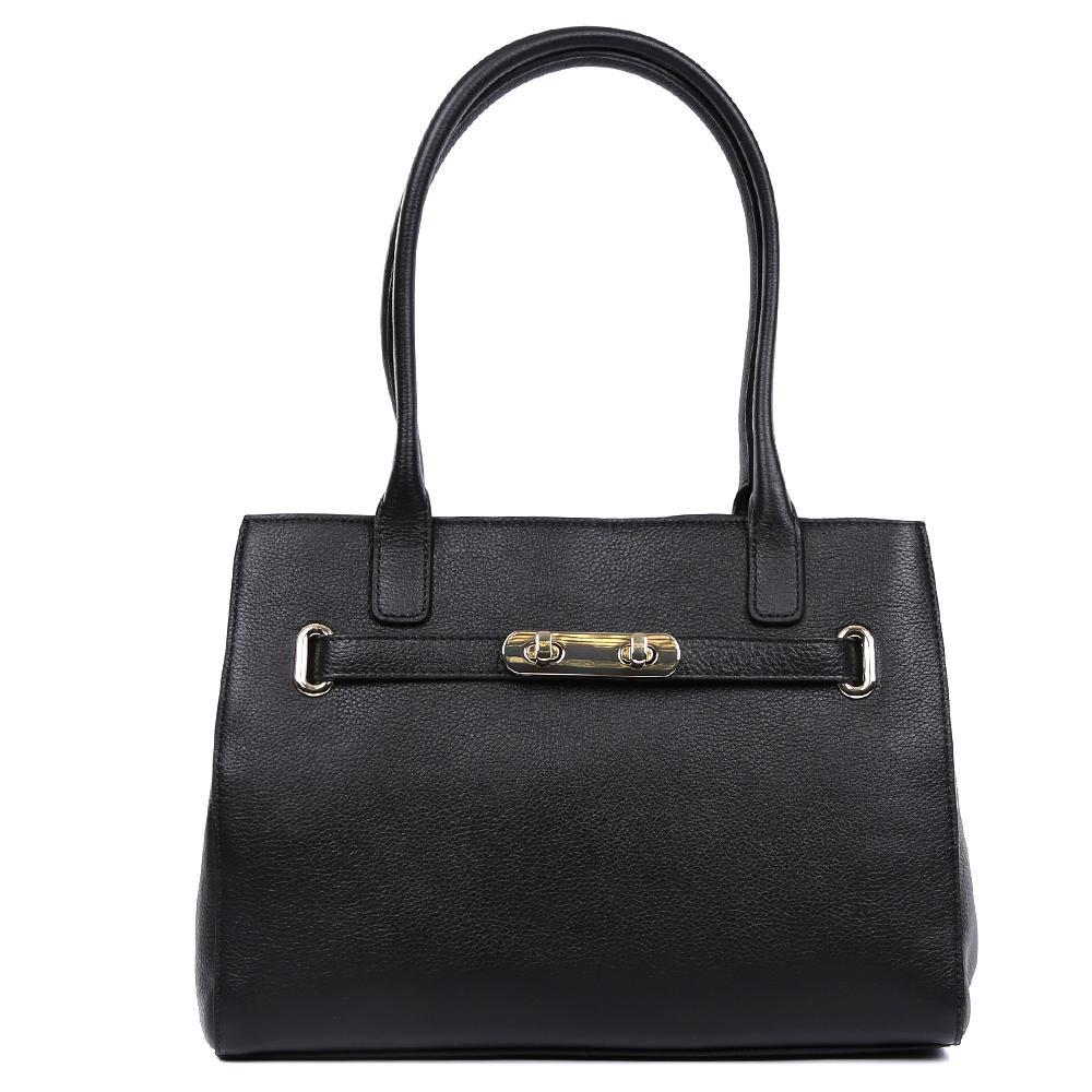 Сумка женская Palio, цвет: черный. 14697A-01814697A-018 blackКлассическая сумка от итальянского бренда Leo Ventoni выполнена из натуральной плотной кожи, которая держит форму и имеет невероятно мягкую пористую фактуру. Насыщенный черный цвет, элегантная фурнитура, выполненная в золотомом цвете, и и стильные кожаные поводки придадут вашему образу нотки изысканности, а также подчеркнут ваш неповторимый вкус. Сумка имеет одно вместительное отделение, которое закрывается на молнию. Внутри сумки вы с легкостью сможете расположить свой сотовый телефон и другие женские мелочи с помощью удобных и вместительных карманов. Модель вмещает формат A4.