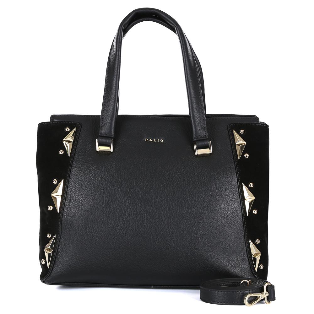 Сумка женская Palio, цвет: черный. 14718A1-W1-018/01814718A1-W1-018/018 blackЭлегантная женская сумка от итальянского бренда Palio выполнена из натуральной плотной кожи, которая держит форму и имеет мягкую фактуру. Классический черный цвет и вставки из замши с изысканной золотой фурнитурой превращают модель в стильный аксессуар, который подойдет под любой современный образ. Сумка имеет одно внутреннее отделение, которое разделяется карманом на два глубоких отсека. Дизайнеры позаботились и об удобстве аксессуара: на внутренних боковых стенках они разместили карманы для различных женских мелочей. На тыльной части сумки расположено отделение, которое закрывается на молнию со стильным металлическим поводком. Аксессуар вмещает папки и документы формата A4.