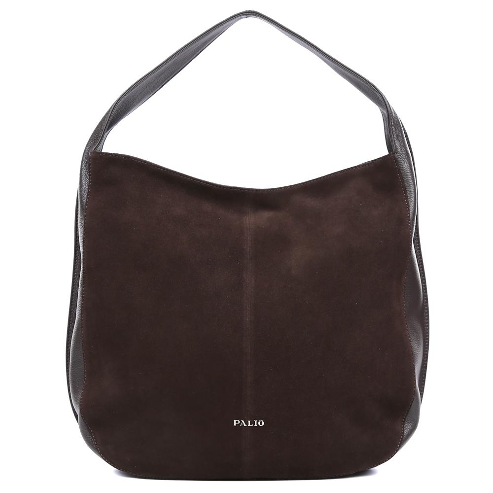 Сумка женская Palio, цвет: коричневый. 14549AL2-W1-778/77814549AL2-W1-778/778 brown TВместительная женская сумка от итальянского бренда Palio выполнена из натуральной плотной кожи, которая держит форму и имеет мягкую фактуру. Элегантный кофейный цвет и стильная отделка замшей понравится модницам, которые ищут стильный и лаконичный аксессуар на каждый день. Фурнитура выполненная в серебряном цвете дополнит любой повседневный образ. Сумка имеет одно внутреннее отделение, которое разделяется карманом на два глубоких отсека. Дизайнеры позаботились и об удобстве аксессуара: на внутренних боковых стенках они разместили карманы для различных женских мелочей. На тыльной части сумки расположено отделение, которое закрывается на молнию со стильным кожаным поводком. Сумку можно носить на плече с помощью тонкого ремешка, который входит в комплект к модели. Аксессуар вмещает формат A4.