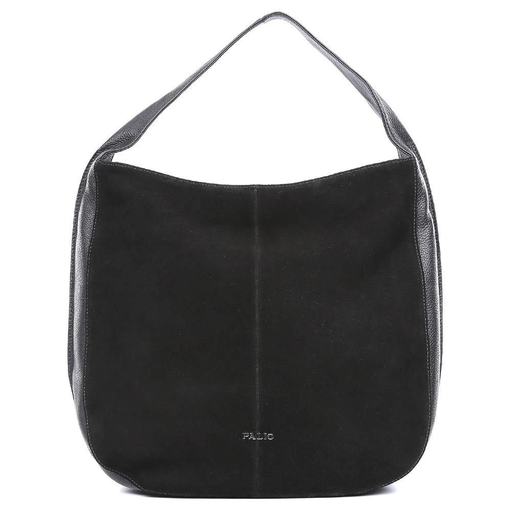 Сумка женская Palio, цвет: черный. 14549AL2-W1-018/01814549AL2-W1-018/018Вместительная женская сумка от итальянского бренда Palio выполнена из натуральной плотной кожи, которая держит форму и имеет мягкую фактуру. Насыщенный черный цвет и стильная отделка замшей понравится модницам, которые ищут стильный и лаконичный аксессуар на каждый день. Фурнитура выполненная в серебряном цвете дополнит любой повседневный образ. Сумка имеет одно внутреннее отделение, которое разделяется карманом на два глубоких отсека. Дизайнеры позаботились и об удобстве аксессуара: на внутренних боковых стенках они разместили карманы для различных женских мелочей. На тыльной части сумки расположено отделение, которое закрывается на молнию со стильным кожаным поводком. Сумку можно носить на плече с помощью тонкого ремешка, который входит в комплект к модели. Аксессуар вмещает формат A4.