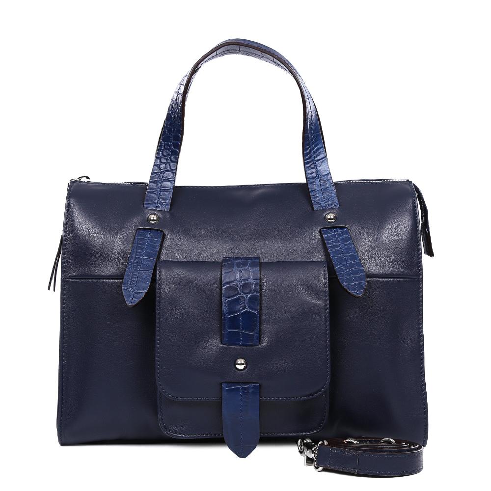 Сумка женская Leo Ventoni, цвет: синий. 2300445023004450-blueЯркая сумка от итальянского бренда Leo Ventoni выполнена из натуральной кожи, которая имеет мягкую и нежную фактуру. Стильный темно-синий цвет модели, отделка под рептилию и дизайнерский карман подойдут к любому современному образу. Модный аксессуар дополнит как деловой, так и повседневный стиль. Сумка имеет одно вместительное отделение, которое вмещает папки формата A4. Внутри аксессуара вы с легкостью расположите свой сотовый телефон и другие женские мелочи за счет удобных карманов. На тыльной стороне дизайнеры разместили вместительный карман, который закрывается на стильную молнию с длиным кожаным поводком. В комплект к аксессуару входит ремешок, с помощью которого сумку можно носить на плече.