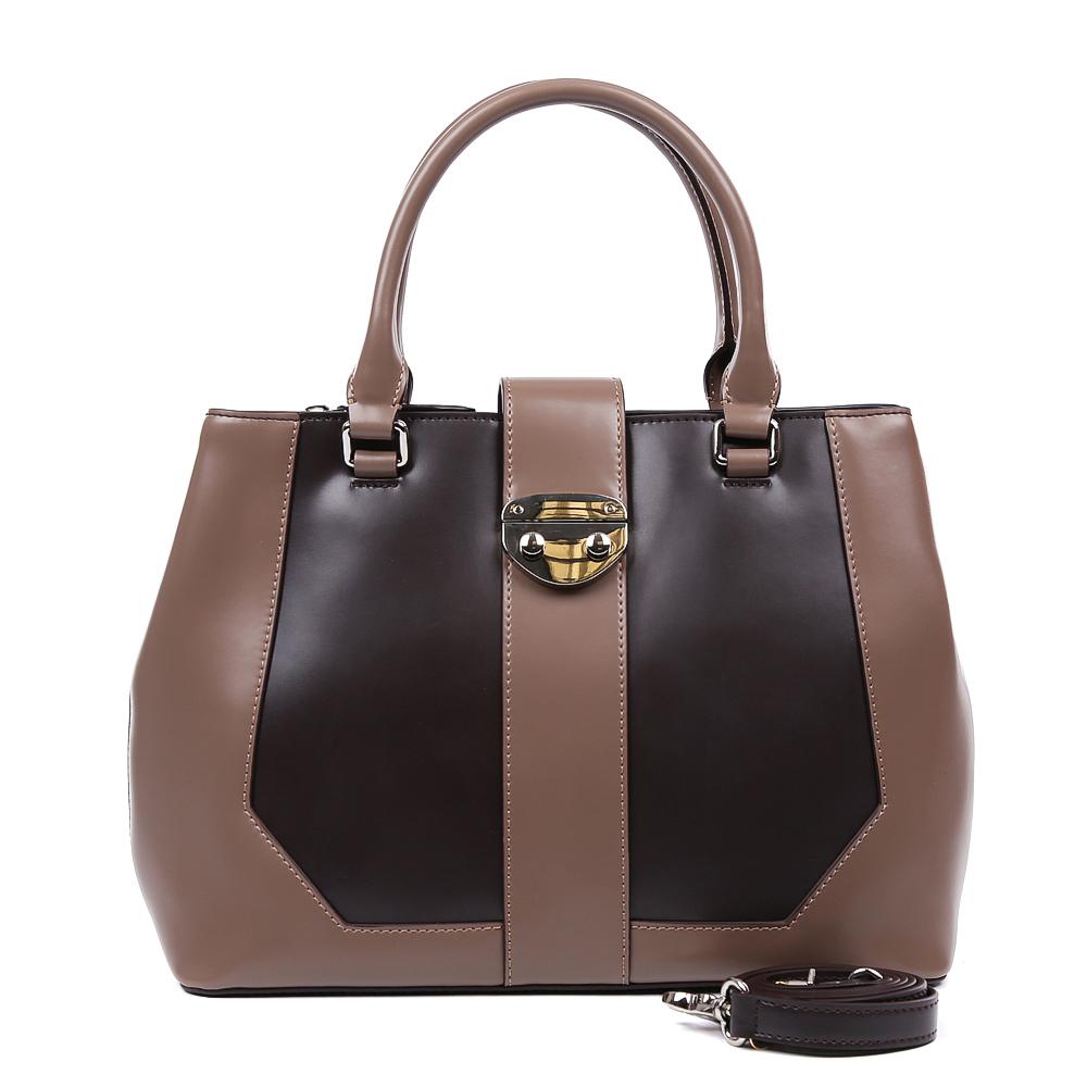 Сумка женская Leo Ventoni, цвет: коричневый. 2300443323004433-marrone/khakiЭлегантная сумка от итальянского бренда Leo Ventoni выполнена из натуральной плотной кожи, которая держит форму и имеет невероятно мягкую и приятную на ощупь фактуру. Дизайнерское сочетание нежного бежевого оттенка с насыщенным фиолетовым цветом подчеркнет ваш неповторимый и женственный стиль. Сумка имеет одно вместительное отделение, которое разделено на два отсека карманом на молнии. Внутри сумки вы с легкостью сможете расположить свой сотовый телефон и другие женские мелочи с помощью удобных и вместительных карманов. Модель вмещает формат A4, в комплекте имеется изысканный наплечный ремень.