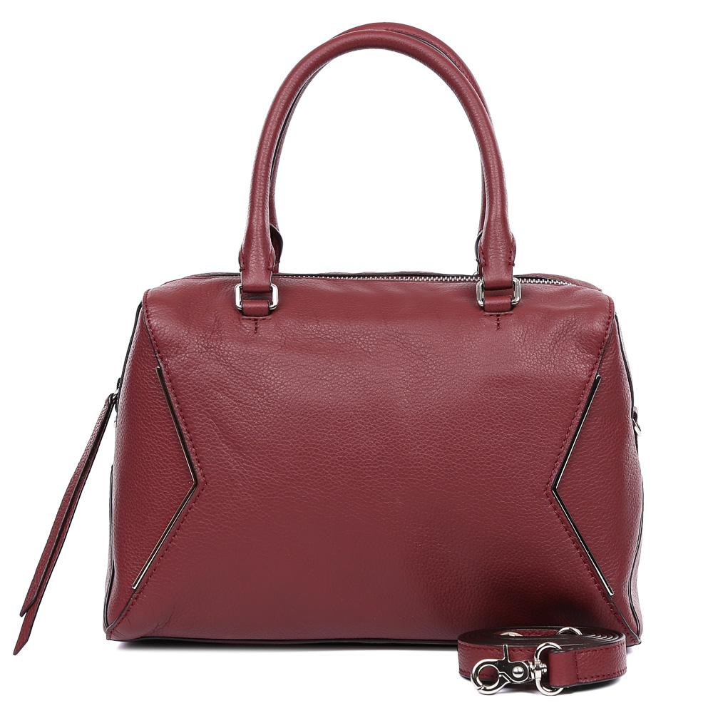 Сумка женская Leo Ventoni, цвет: бордовый. 2300442023004420-wineМодная сумка от итальянского бренда Leo Ventoni выполнена из натуральной плотной кожи, которая держит форму и имеет невероятно мягкую пористую фактуру. Невероятно актуальный в этом сезоне бордовый цвет, элегантный геометрический дизаай, выполненный в цвете никель, стильные кожаные поводки, - все это придаст вашему образу нотки изысканности, а также подчеркнет ваш неповторимый вкус. Сумка имеет одно вместительное отделение, которое закрывается на молнию. Внутри сумки вы с легкостью сможете расположить свой сотовый телефон и другие женские мелочи с помощью удобных и вместительных карманов. Модель не вмещает формат A4, в комплекте имеется наплечный ремень, с помощью которого аксессуар можно носить на плече.