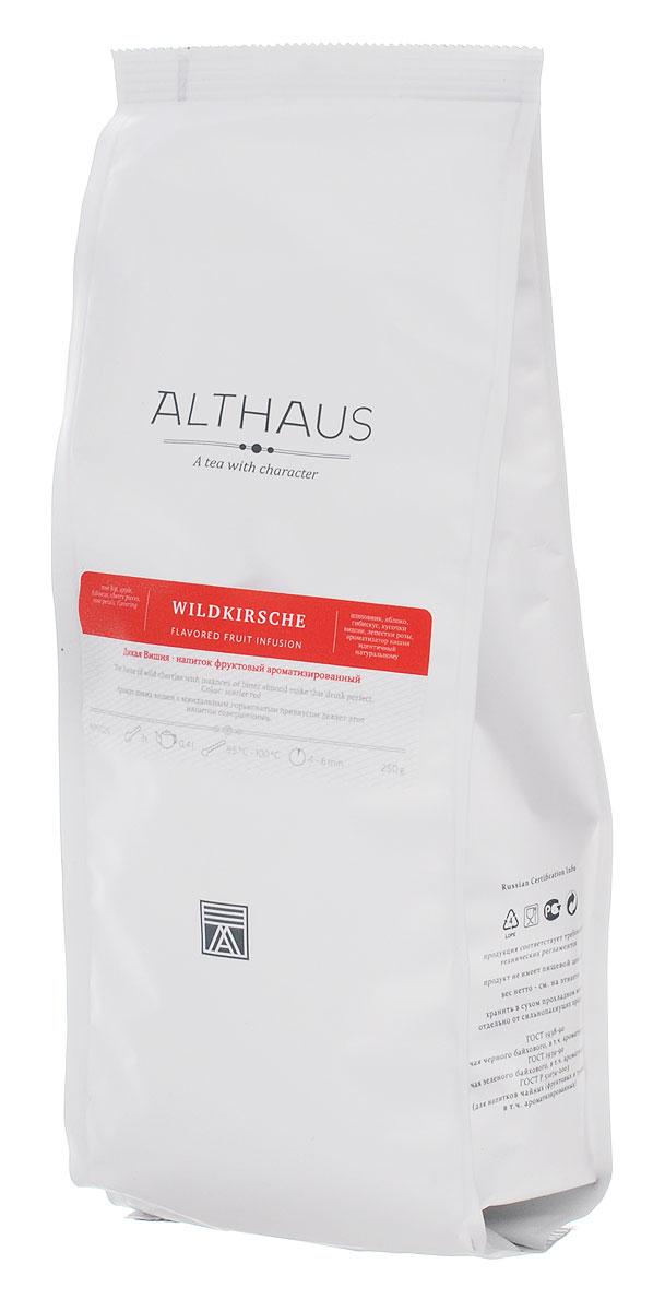 Althaus Wildkirsche фруктовый листовой чай, 250 гTALTHF-L00049Althaus Wildkirsche — интересный фруктовый купаж с прекрасным ароматом диких вишен в сочетании с легкой и изящной миндальной горчинкой. Совершенный вкус этого напитка формируют кусочки сочной вишни и медового яблока в композиции с плодами шиповника, лепестками розы и гибискуса. В этом напитке доминирует яркий, выразительный вишневый аромат. В букете угадывается благородная сладость сочных ягод, густой душистый запах цветочных бутонов, пряная нота корицы и миндаля. Завершает звучание напитка обволакивающий аромат восточных благовоний. Чай обладает терпковатой изысканной сладостью во вкусе и летним ароматом. В его послевкусии ощущается сладость засахаренного цветочного меда и спелого винограда. Ягоды вишни — это не только вкусный десерт и основа для освежающего ягодного коктейля, это еще источник витаминов и полезных микроэлементов. Температура воды: 85-100 °С Время заваривания: 4-6 мин Цвет в чашке: алый