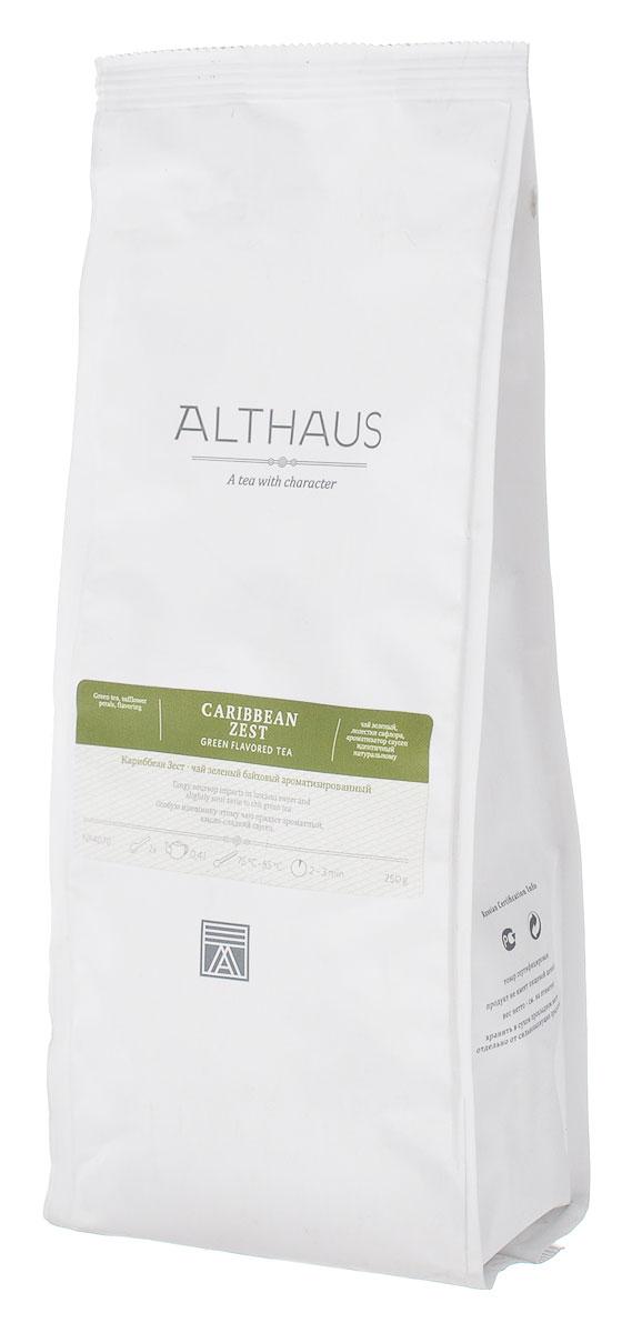 Althaus Caribbean Zest зеленый листовой чай, 250 гTALTHG-L00078Особую изюминку чаю Althaus Caribbean Zest придает ароматный кисло-сладкий саусеп, который раскрывается в ярком и густом фруктовом букете, обволакивающем, с оттенком спелого яблока и лимонада. Насыщенный медового цвета напиток обладает терпким, слегка дымным вкусом чая ганпаудер и деликатной кислинкой.