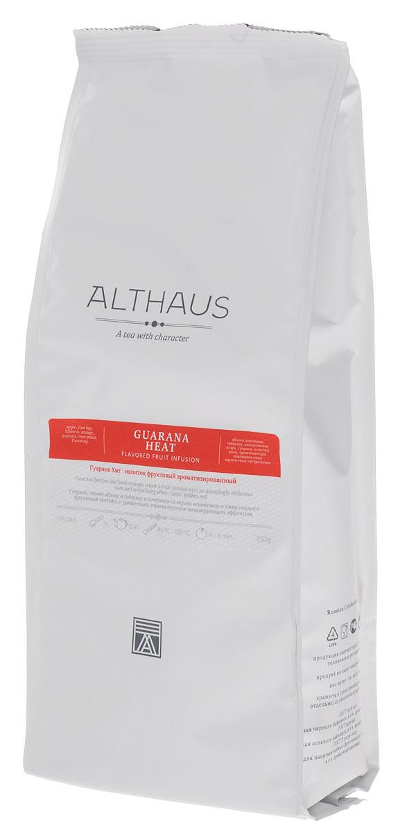 Althaus Guarana Heat фруктовый листовой чай, 250 гTALTHF-L00054Althaus Guarana Heat — натуральный энергетический фруктовый коктейль, снимающий усталость и придающий силы. Гуарана — это древесное вьющееся растение с берегов Амазонки. Индейцы Южной Америки недаром называли гуарану эликсиром молодости, ее семена содержат множество полезных веществ и поддерживают работу сердца. Сладкий апельсин, лепестки розы и свежее яблоко образуют тонкий нежный вкус напитка. В ярком выразительном букете раскрываются волнующие цитрусовые оттенки и сочная арбузная нота, которая рождается из сочетания ароматов свежего зеленого киви и сладкой земляники. Во вкусе присутствует приятная терпкость и легкая горчинка. Бодрящий напиток Althaus Guarana Heat — прекрасный выбор для утреннего чаепития. Этот напиток употребляют не только в горячем, но и в холодном виде со льдом. Температура воды: 85-100 °С Время заваривания: 4-6 мин Цвет в чашке: красно-золотой