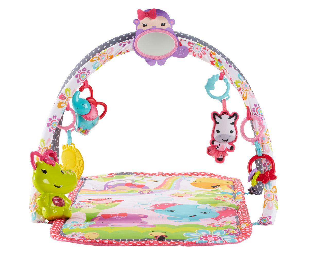 Fisher Price Развивающий музыкальный коврик 3 в 1 Розовые джунглиDFP64Развивающий музыкальный коврик Fisher Price 3 в 1 - это целый спорткомплекс, который растет вместе с ребенком. Коврик для девочки с музыкальными эффектами и игровыми дугами выполнен в ярком дизайне. На коврике удобно лежать, рассматривая погремушки или рисунки на основании в виде животных, сидеть, изучая игрушки и любуясь собственным отражением. С тремя режимами ребенок сможет лежать и играть, подтягиваться, когда перевернется на живот, или сидеть и играть на мягком коврике. Две игровые дуги с 6 игрушками - прорезывателями и погремушками, в центре расположено безопасное зеркальце в виде обезьянки. Музыкальный крокодильчик позабавит веселой мелодией. Два музыкальных режима включают короткие мелодии, запускаемые самим ребенком, и до 10 минут музыки в режиме долгой игры. Расположение присоединяемых игрушек можно менять, чтобы ребенок видел смену обстановки. Малыш, играя, тренирует кисти рук, их силу и ловкость. Лежа на животике, малыш стремиться поднимать голову и плечи, чтобы...
