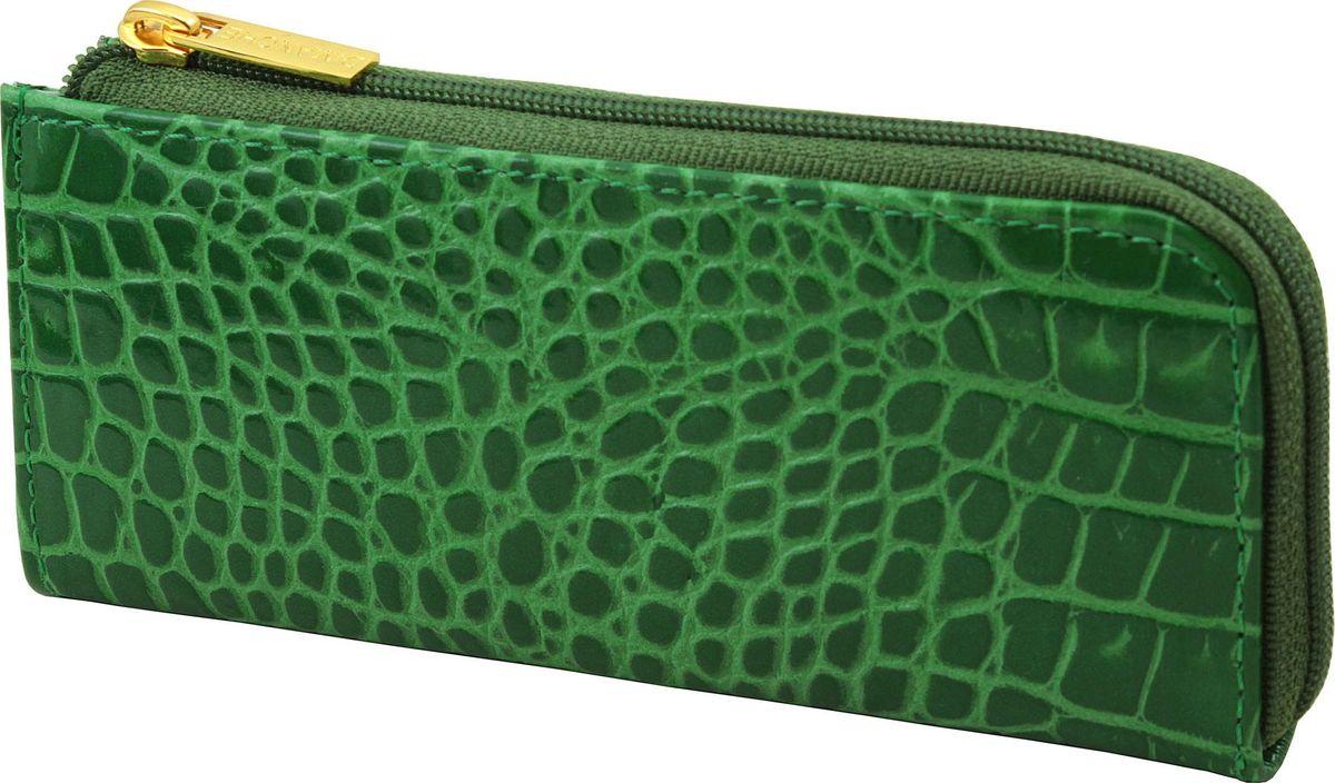 Ключница женская Dimanche Казино, цвет: зеленый. 232232_зеленыйКлючница из лаковой тисненой кожи с изящным украшением, закрывается на молнию, внутри кольцо для ключей, с задней стороны вместительный кармашек на молнии.