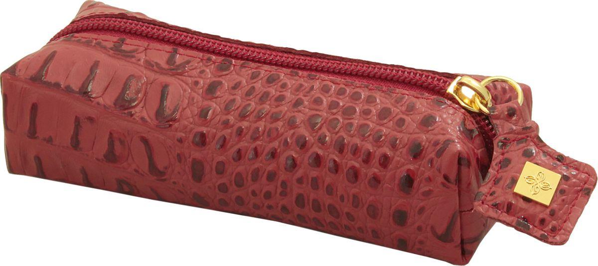Ключница женская Dimanche, цвет: красный. 270/8270/8_красныйКлючница из мягкой качественной тисненой кожи. Закрывается на молнию, внутри кольцо для ключей, без подкладки. Объемная, мягкая, вместительная.