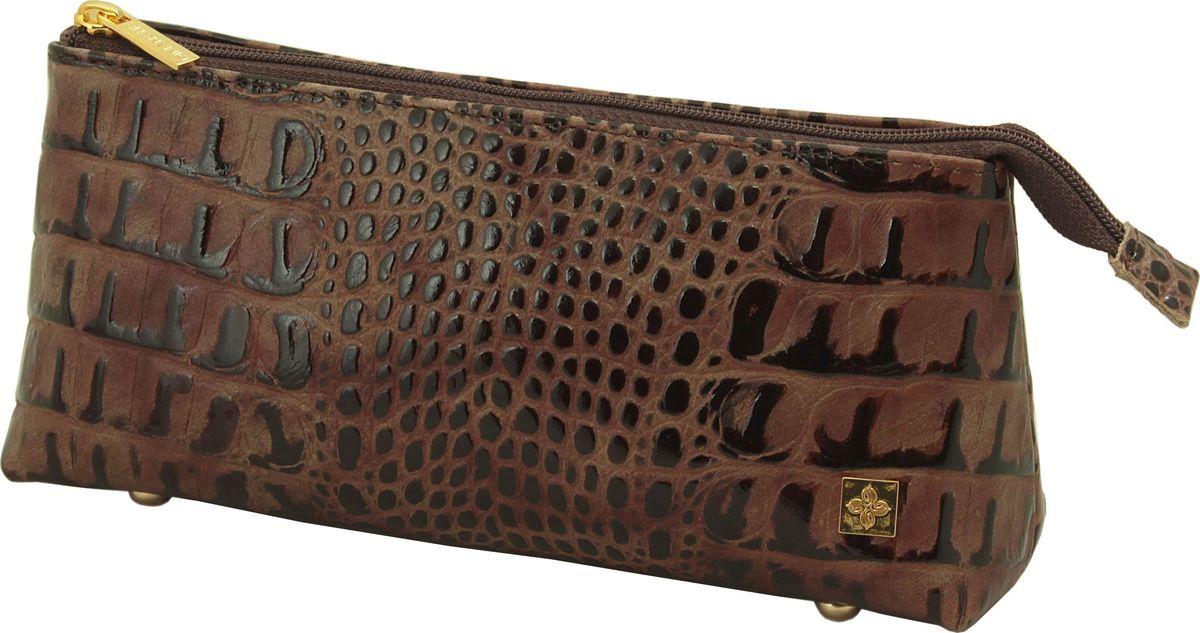 Косметичка женская Dimanche Loricata Brun, цвет: коричневый. 419/8419/8_коричневыйВ косметичке одно большое отделение, закрывающееся на молнию, на ножках.