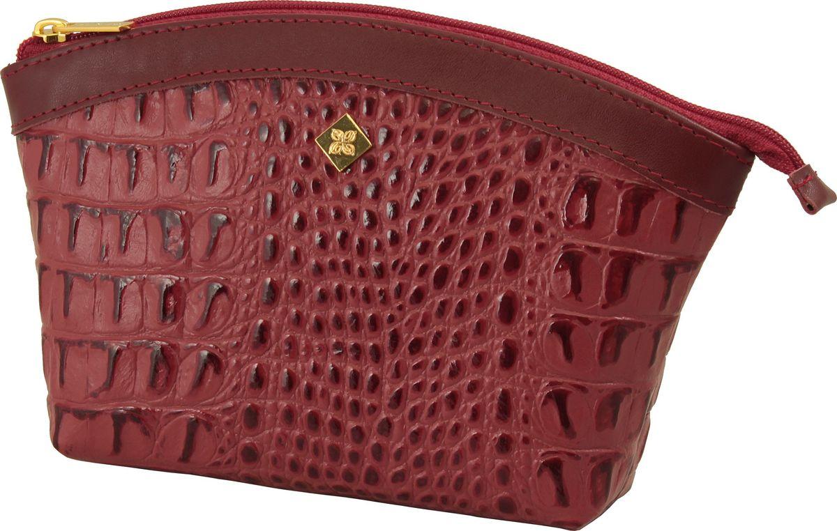 Косметичка женская Dimanche Loricata Brun, цвет: красный. 476476_красныйУдобная косметичка из натуральной кожи. Закрывается на молнию, внутри на подкладке.