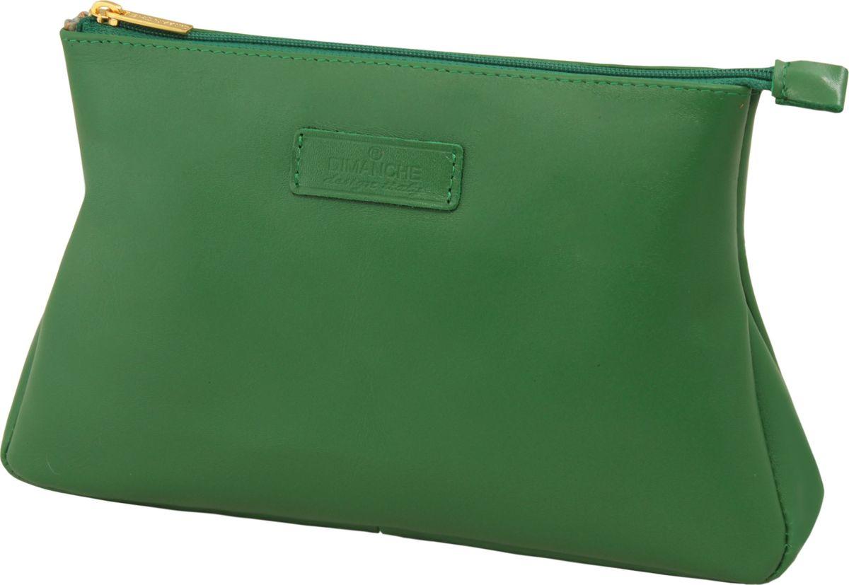Косметичка женская Dimanche, цвет: зеленый. 250/26250/26_зеленыйКосметичка из натуральной высококачественной кожи. Внутри одно большое отделение, на подкладке. Закрывается на молнию. Вместительная.