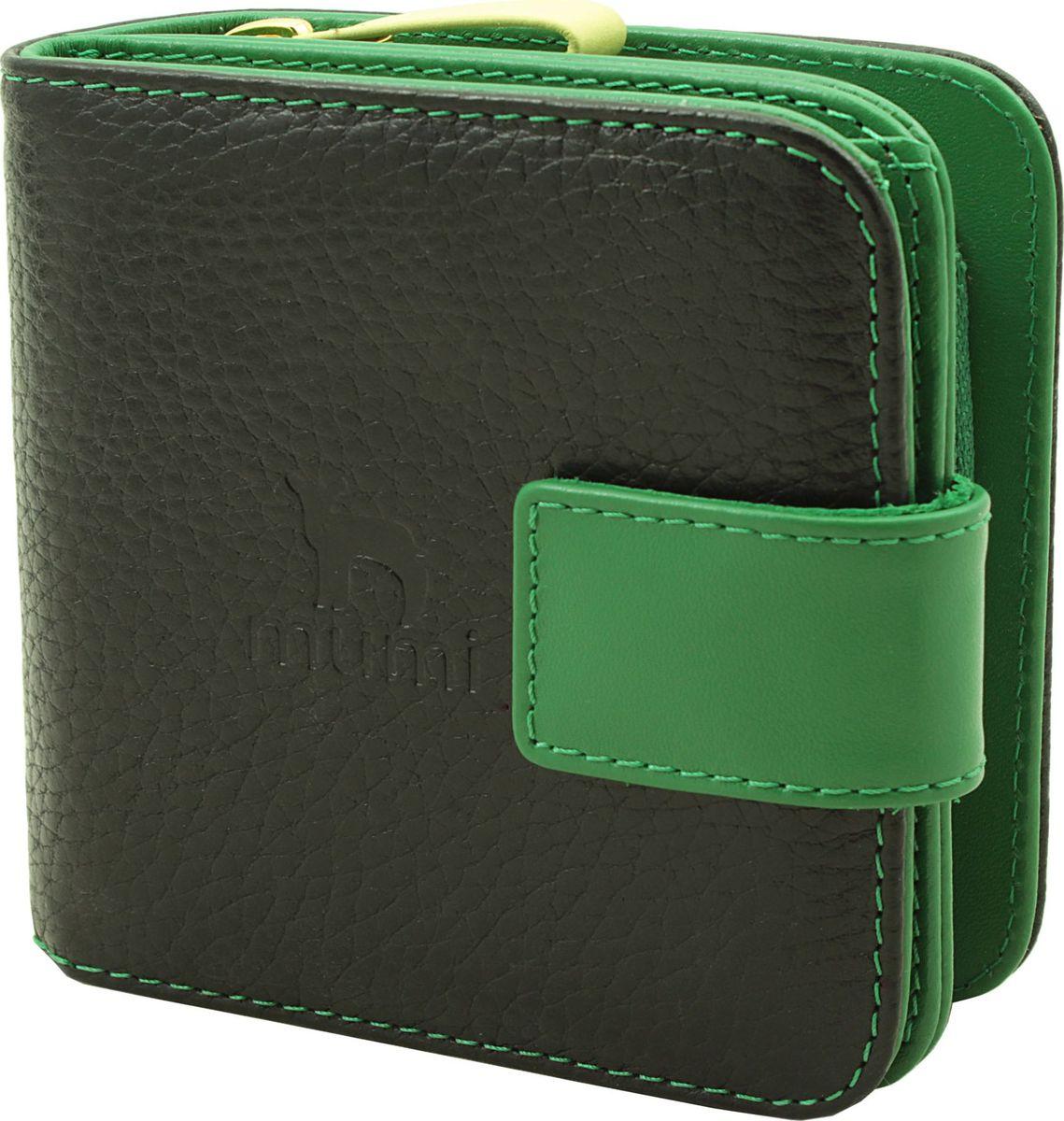 Кошелек Dimanche Mumi, цвет: черный, зеленый. 082082_черный, зеленыйКошелек выполнен из комбинации разноцветных кож с оригинальным украшением. Состоит из двух отделений. В первом, закрывающемся на хлястик с кнопкой, имеется 2 отделения для купюр и восемь кармашнов для кредитных/визитных карт. Второе объемное отделение для мелочи закрывается на молнию, внутри имеется перегородка.