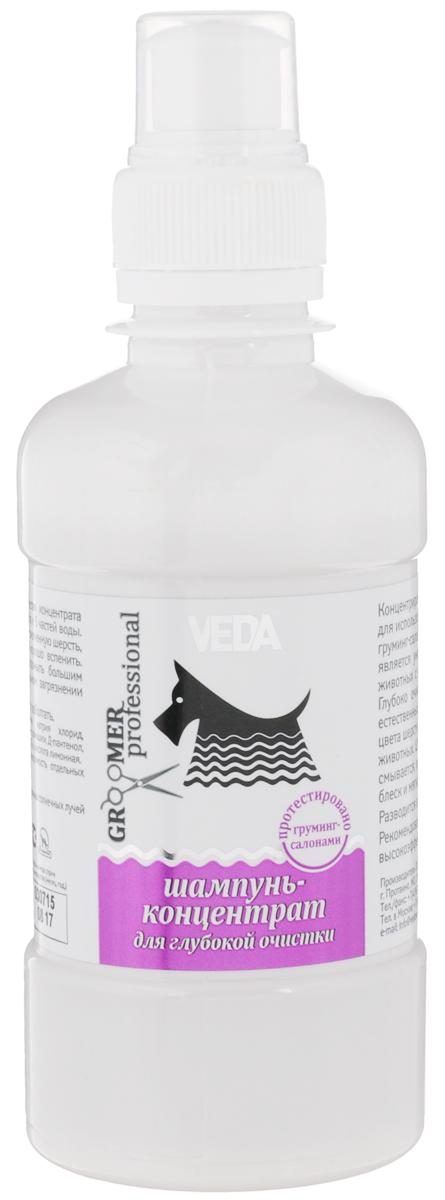 Шампунь-концентрат для собак и кошек VEDA Groomer Professional, для глубокой очистки, 250 мл4605543007439Шампунь-концентрат VEDA Groomer Professional является универсальным средством, подходит для кошек и собак с различной текстурой и цветом шерсти. Глубоко очищает сильные загрязнения, не меняя естественный pH кожи. Способствует освежению цвета шерстного покрова, в том числе у белоснежных животных. Шампунь имеет приятный аромат и легко смывается, облегчает расчесывание, придает шерсти блеск и мягкость. Разводится в пропорции 1:5. Рекомендован для грумеров и завозчиков как высокоэффективное экономичное средство. Товар сертифицирован.